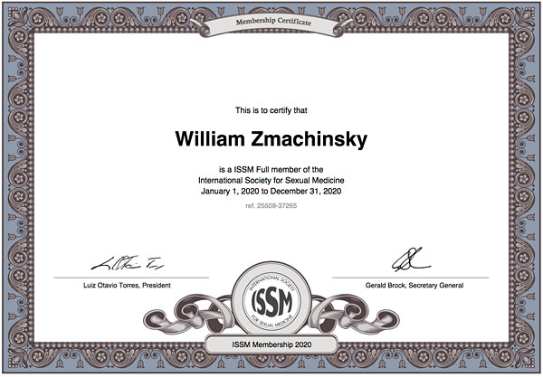 William Zmachinsky, member International Society for Sexual Medicine, ISSM