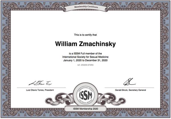William Zmachinsky, member International Society for Sexual Medicine, ISSM